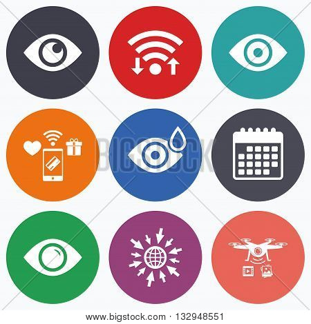 Wifi, mobile payments and drones icons. Eye icons. Water drops in the eye symbols. Red eye effect signs. Calendar symbol.