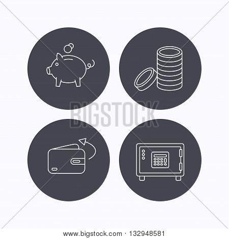 Piggy bank, cash money and wallet icons. Safe box, send money linear signs. Flat icons in circle buttons on white background. Vector