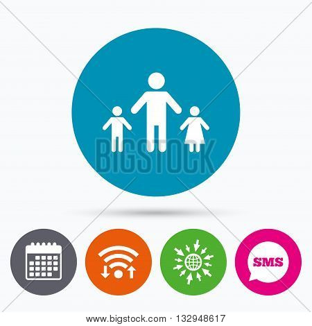 Wifi, Sms and calendar icons. One-parent family with two children sign icon. Father with son and daughter symbol. Go to web globe.