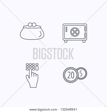 Cash money, safe box and wallet icons. Coins, enter code linear sign. Flat linear icons on white background. Vector