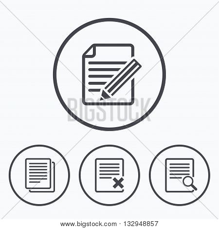 File document icons. Search or find symbol. Edit content with pencil sign. Remove or delete file. Icons in circles.