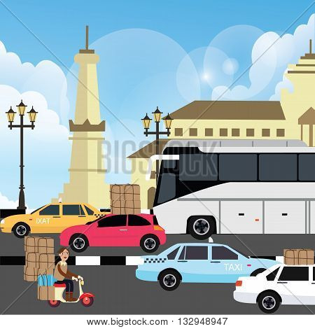 holiday vacation traffic jam congestion illustration in yogyakarta street indonesia vector