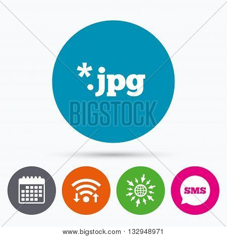 Wifi, Sms and calendar icons. File JPG sign icon. Download image file symbol. Go to web globe.