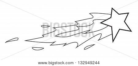 Vector illustration of shooting star in black and white doodle cartoon