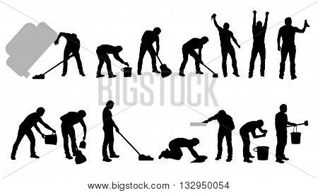 illustration of cleaning male set on white background