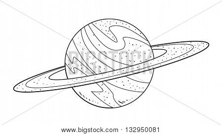 Vector illustration of planet Saturn in black and white doodle cartoon
