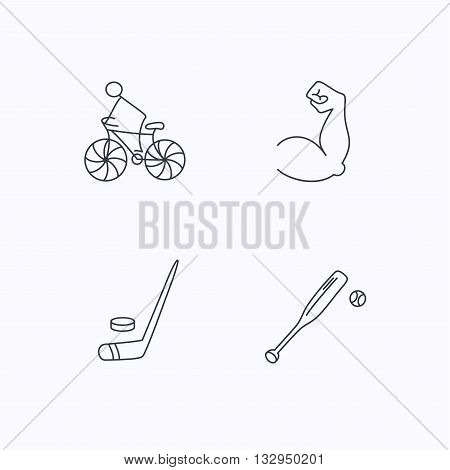 Biking, biceps and ice hockey icons. Baseball linear sign. Flat linear icons on white background. Vector