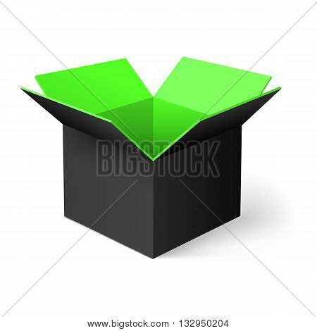 Black opened square box with green color inside