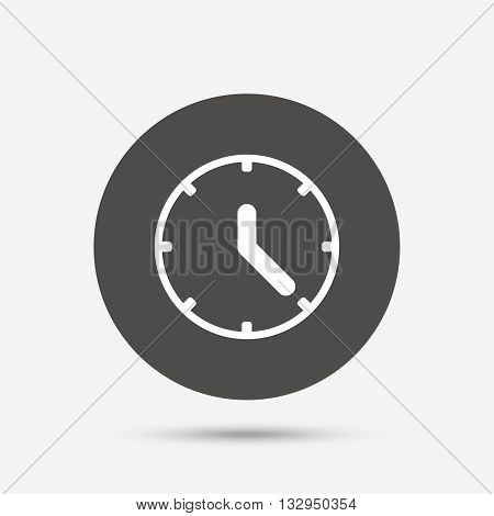 Clock sign icon. Mechanical clock symbol. Gray circle button with icon. Vector