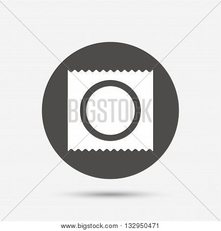 Condom in package safe sex sign icon. Safe love symbol. Gray circle button with icon. Vector