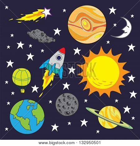 Vector illustration of space theme with planets stars and rocket background in cartoon style