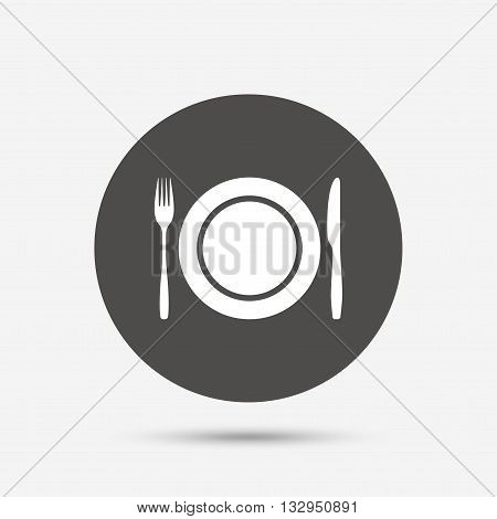 Plate dish with fork and knife. Eat sign icon. Cutlery etiquette rules symbol. Gray circle button with icon. Vector