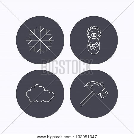 Newborn, cloud and snowflake icons. Hammer linear sign. Flat icons in circle buttons on white background. Vector