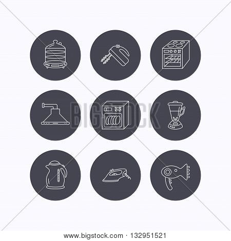 Dishwasher, kettle and mixer icons. Oven, steamer and iron linear signs. Hair dryer, blender and kitchen hood icons. Flat icons in circle buttons on white background. Vector
