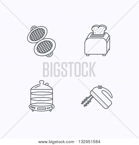Waffle-iron, toaster and blender icons. Steamer linear sign. Flat linear icons on white background. Vector