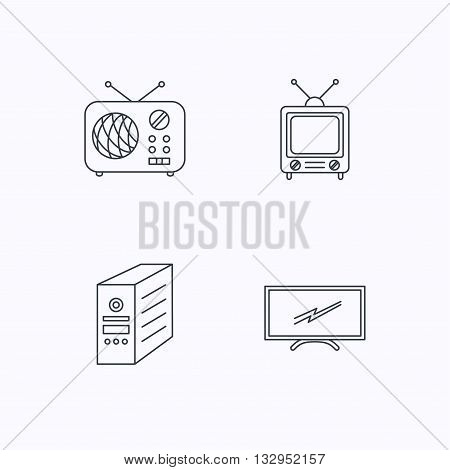 Retro TV, radio and PC case icons. Computer linear sign. Flat linear icons on white background. Vector