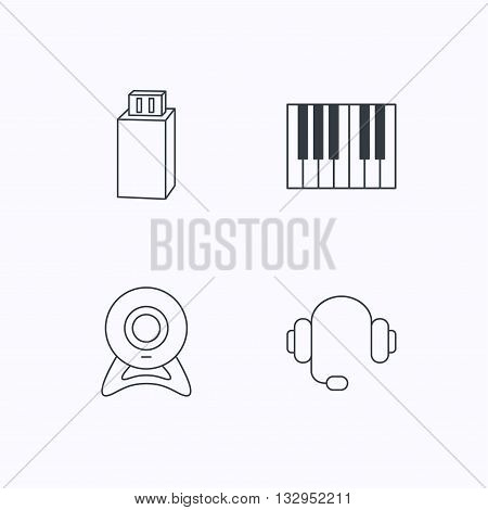 Web camera, headphones and Usb flash icons. Piano linear sign. Flat linear icons on white background. Vector