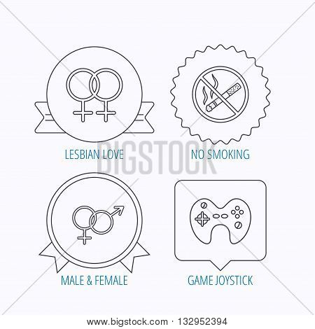 No smoking, couple and game joystick icons. Male, female and lesbian love linear signs. Award medal, star label and speech bubble designs. Vector