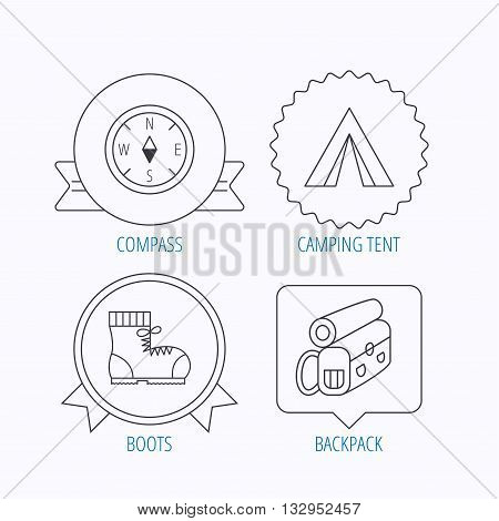 Backpack, camping tend and hiking boots icons. Compass linear sign. Award medal, star label and speech bubble designs. Vector