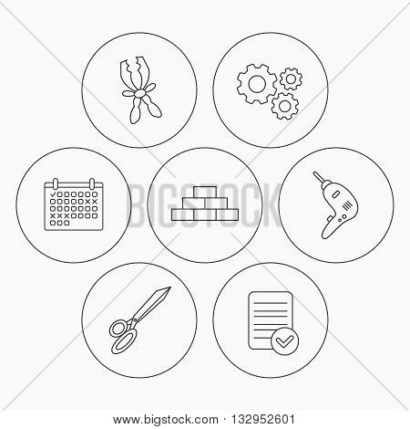 Wall, battery terminals and scissors icons. Drill tool linear sign. Check file, calendar and cogwheel icons. Vector