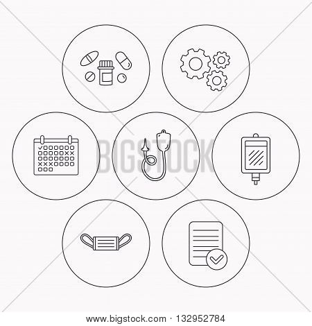 Medical mask, blood and pills icons. Enema linear sign. Check file, calendar and cogwheel icons. Vector