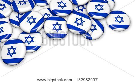 Israel flag on pin badges 3d illustration image for national Israeli day events holiday memorial and celebration.