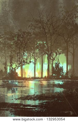mysterious dark forest with mystic light at night, illustration