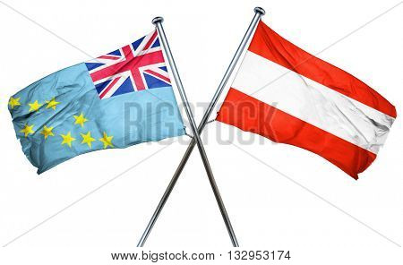 Tuvalu flag with Austrian flag, 3D rendering