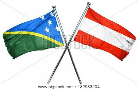 Solomon islands flag with Austrian flag, 3D rendering