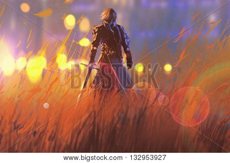 knight warrior standing with sword in field, illustration painting