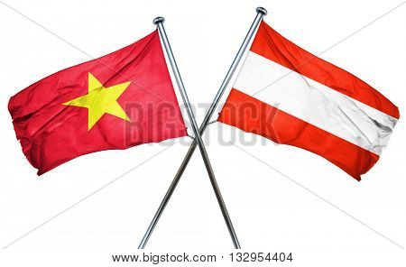 Vietnam flag with Austrian flag, 3D rendering