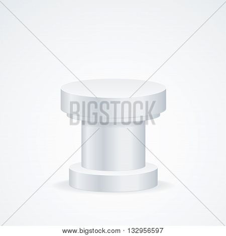 Realistic Round Empty Podium or Tribune. Vector illustration