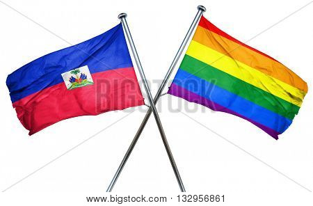 Haiti flag with rainbow flag, 3D rendering