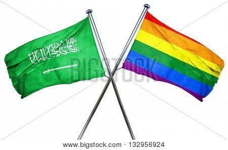 Saudi Arabia flag with rainbow flag, 3D rendering