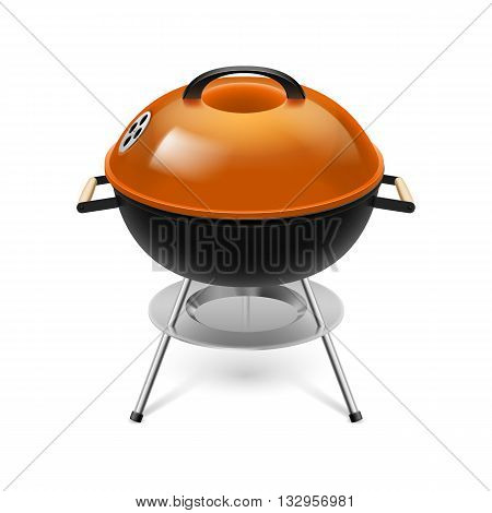 BBQ grill with orange cap isolated on white