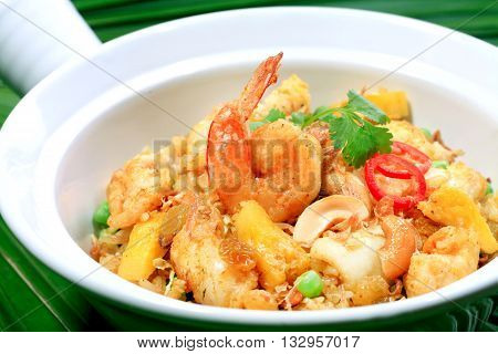 Top view - Fried mix seafood with oyster sauce and green pepper