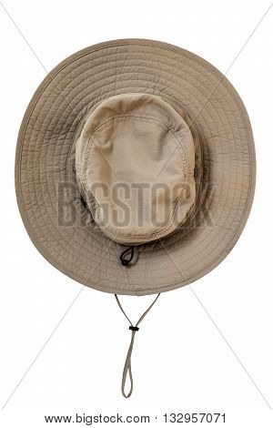 Brown explorer fabric waterproof hat with neck ribbon, isolated on white background