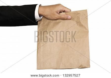 Businessman hand holding(Sharing,giving) brown paper bag lunch, isolated on white background