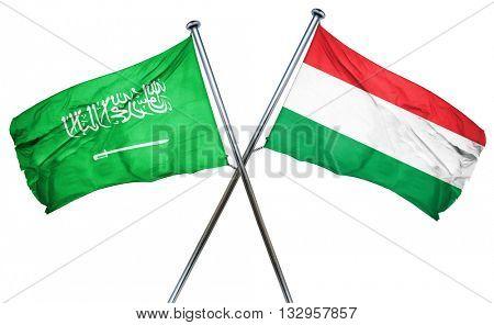 Saudi Arabia flag with Hungary flag, 3D rendering
