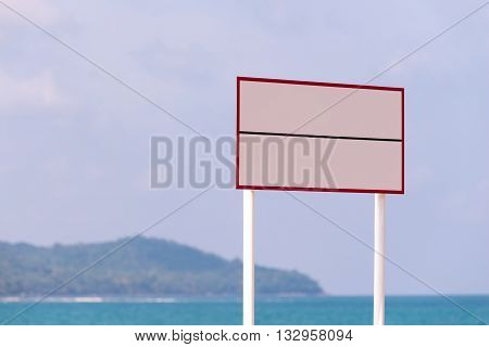 Blank sign board. for adding information. for adding word into the board.