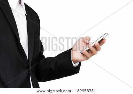 Businessman using smartphone, isolated on white background