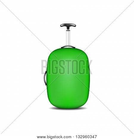 Travel suitcase in green design on white background