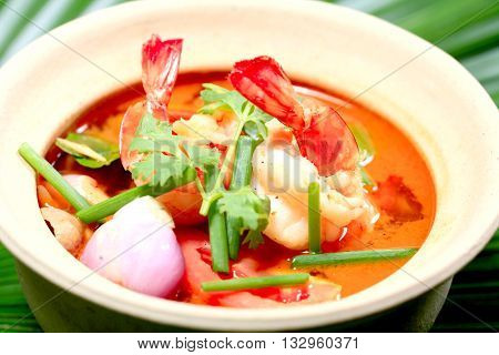 Tom Yum Goong - Thai hot and spicy soup seafood with shrimp - Thai Cuisine