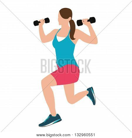 woman fitness position holding barbells with her hand while squatting vector