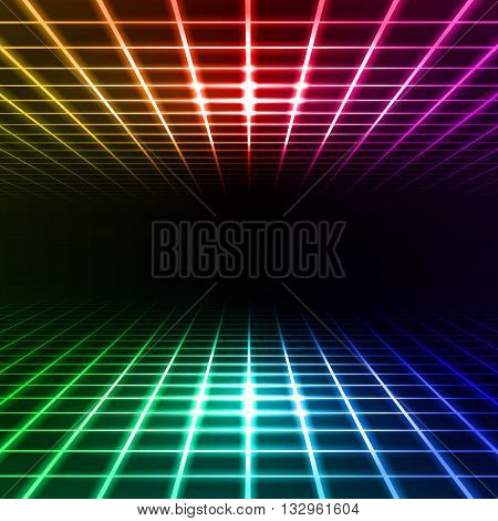 Color dimensional grid space tunnel floor and ceiling