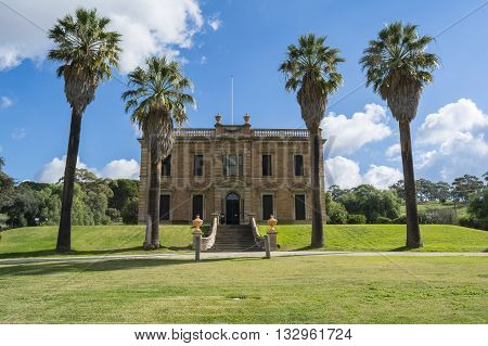 Martindale Hall, Mintaro, South Australia, Australia - June 4 2016: Featuring the front view of the historic Martindale Hall Building and grounds.