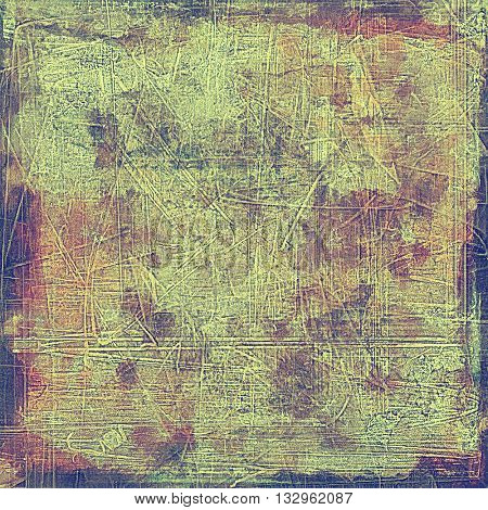 Old grungy stylish composition, vintage texture with different color patterns: yellow (beige); brown; green; blue; purple (violet)