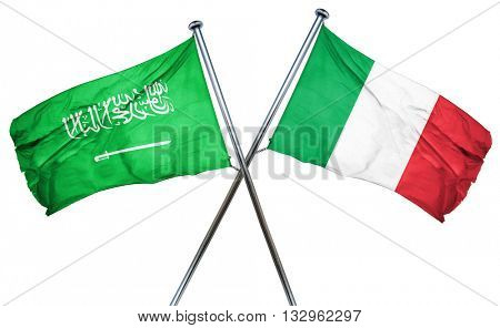 Saudi Arabia flag with Italy flag, 3D rendering