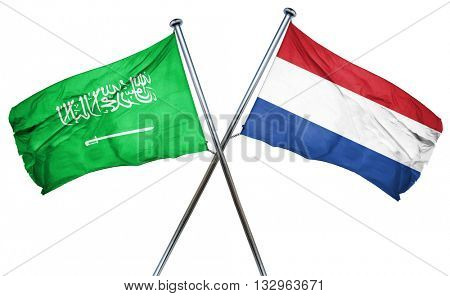 Saudi Arabia flag with Netherlands flag, 3D rendering