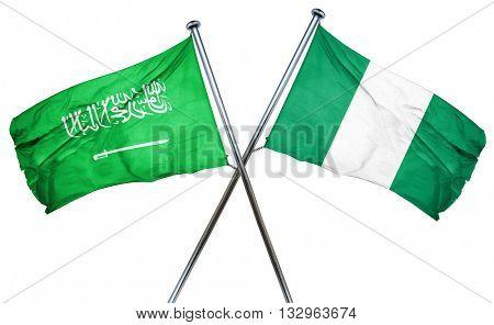 Saudi Arabia flag with Nigeria flag, 3D rendering